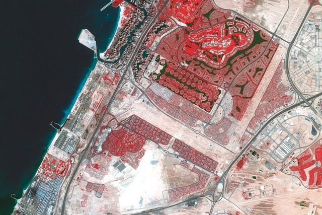 The photograph uses false colours to represent certain types of areas. Vegetation is marked in red. Courtesy Dubai Media Office